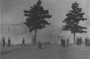 Ćwiczenia wojskowe na Placu Saskim w roku 1927.