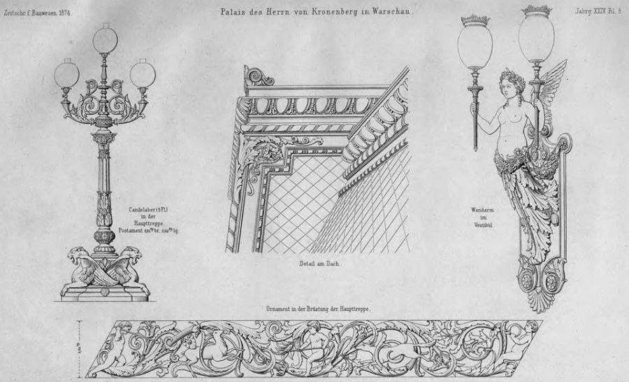 Od lewej: kandelabry na szczycie balustrady klatki schodowej, detal dachu, kandelabry z holu wejściowego, fragment balustrady.