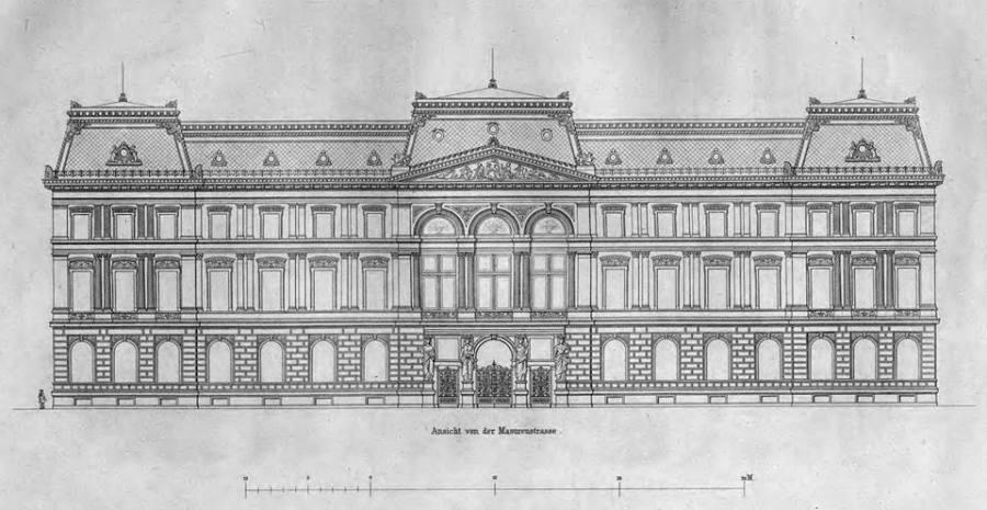 Jak wspomniano projekt budynku był dziełem Georga Hitziga z Berlina, który w swoich realizacjach stylowo i umiejętnie łączył różne wątki renesansu, baroku i klasycyzmu rodem z Francji, Włoch i Niemiec. Pałac miał fasadę główną od strony ulicy Mazowieckiej a bokiem (zaopatrzonym w przejazd bramny) zwrócony był ku ulicy Królewskiej. Pałac miał dwa piętra plus wysoki mansardowy dach. Do wystroju rzeźbiarskiego Kronenberg zatrudnił Leonarda Marconiego, a autorem fresków był ponoć Wojciech Gerson. Marconi był autorem czterech kariatyd u głównego wejścia od strony ulicy Mazowieckiej oraz dwóch przy wjeździe od strony Królewskiej. Kolejne dwie kariatydy podtrzymywały narożny balkon (na tym rysunku nie uwidoczniony). Trójkątny tympanon Marconi wypełnił płaskorzeźbą z alegorycznymi postaciami symbolizującymi przemysł, handel i sztukę. Co ciekawe w ornamentach elewacji zastosowano terakotę, co było materiałem znacznie trwalszym od gipsu sztukatorskiego.