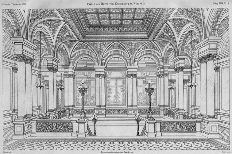 Widok na reprezentacyjną klatkę schodową - I piętro. Zarówno klatka schodowa jak i znajdujący się z tyłu Ogród Zimowy miały szklane zadaszenie (ten ostatni podwójne)