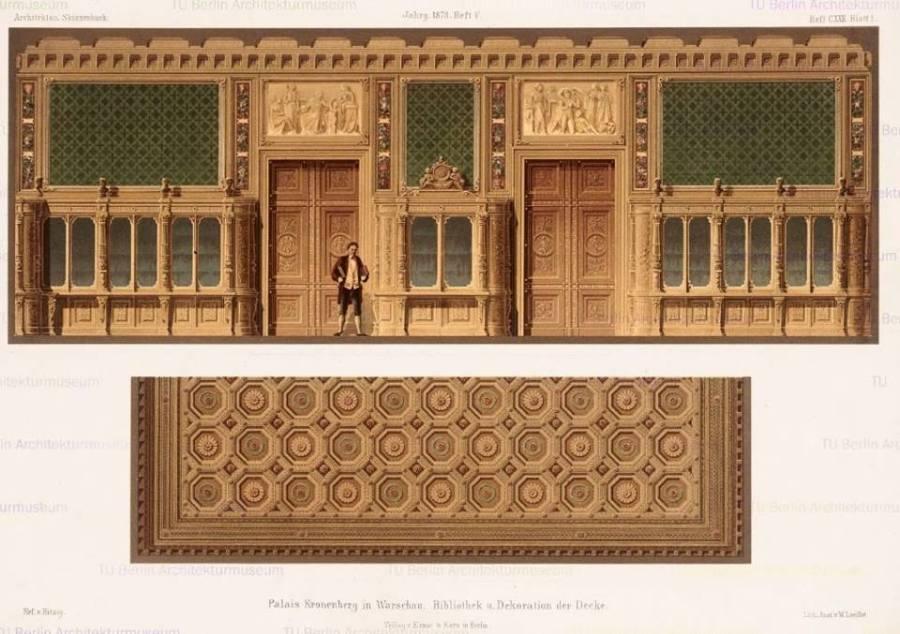 Widok stropu Salonu, znajdującego się na lewo od klatki schodowej na I piętrze. Na środku widoczny plafon z Apollem w rydwanie w otoczeniu muz