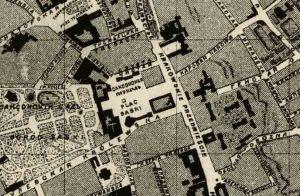 Plac Saski i stajnie, zaznaczone na planie miasta z roku 1879.