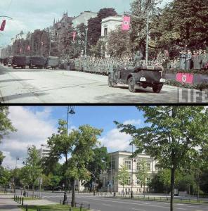 Aleje Ujazdowskie - parada 5 października 1939 i to samo miejsce obecnie.
