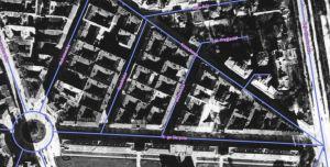 Służewska i okolice w 1935 roku. Niebieską linią oznaczone są ulice sprzed 1939 roku.