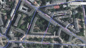 Służewska i okolice obecnie. Niebieską linią oznaczone są ulice sprzed 1939 roku. Czarno-białe napisy to ulice współczesne.