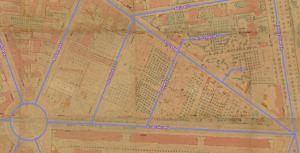 Służewska (jeszcze nie istniejąca) i okolice w końcu XIX wieku. Widać dominujące w okolicy ogrody. Niebieską linią oznaczone są ulice sprzed 1939 roku.