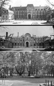 Pałac przed wojną, w w czasie okupacji i miejsce po nim obecnie.