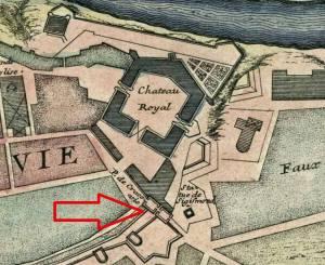Brama Krakowska na planie Starej Warszawy z roku 1700.