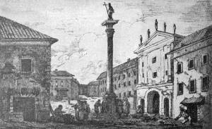 Brama Krakowska na przełomie XVIIi i XIX wieku.