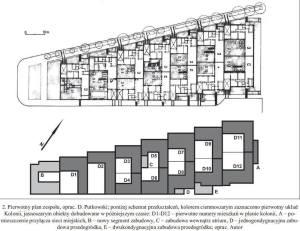 Eksperymentalna kolonia atrialnych domów architektów w Warszawie - ulica Jedlińska. Obrazek pochodzi z pracy doktoranckiej inżyniera Gajdy.