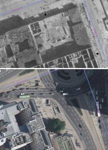 Widok budynku na fotoplanie z 1945 roku oraz plan współczesny.