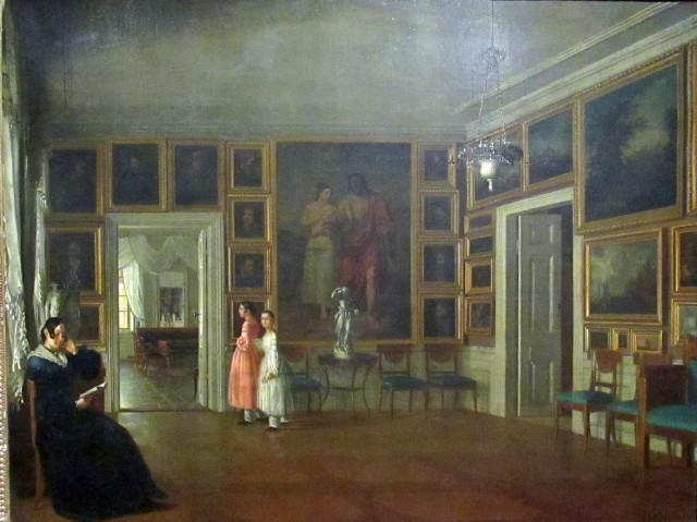 """Obraz Aleksandra Kokulara """"Wnętrz salonu w domu artysty"""" z roku 1830. Muzeum Narodowe w Warszawie."""
