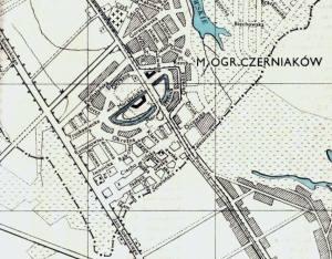 Ulica Klarysewska zaznaczona na planie z roku 1940.