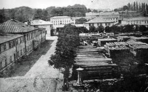Dziedziniec Młyna Parowego. Lata sześćdziesiąte XIX wieku.