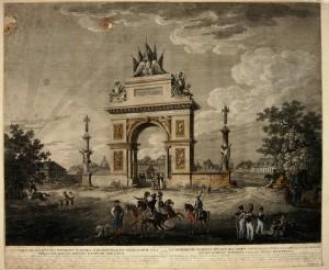Brama triumfalna w roku 1809 na placu Trzech Krzyży.