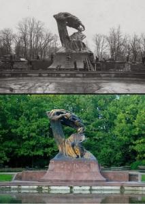 Pomnik w roku 1926 i obecnie.