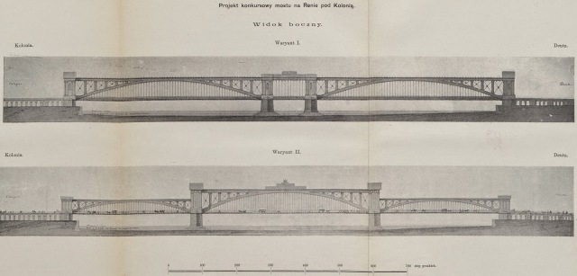 Projekt mostu na Renie, wykonany przez Feliksa Pancera.