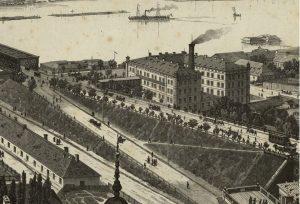 Przyczółek mostu Kierbedzia, uroczyście otwartego w roku 1864.