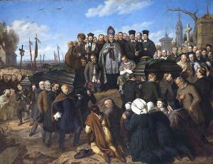 Duchowni katolicy i protestanccy oraz rabini na Cmentarzu Powązkowskim. Obraz Aleksandra Lessera.