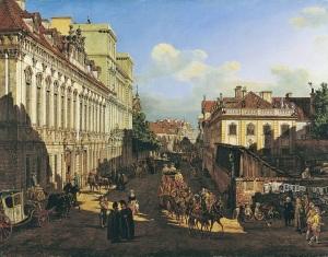 Bernardo Bellotto - ulica Miodowa. Pałac po lewej stronie.