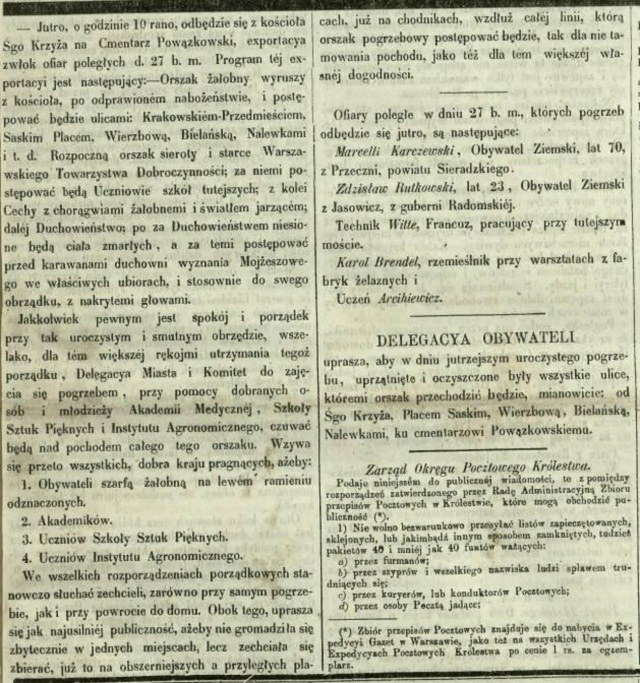 Informacja z Gazety Warszawskiej o pogrzebie zabitych podczas demonstracji. Gazeta informuje również, kto będzie uczestniczył w ceremonii, w jakim porządku będzie ustawiony kondukt oraz jaką trasa przejdzie.