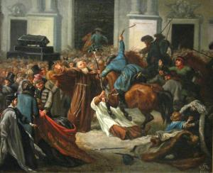 Kozacy próbują rozpędzić demonstrację w dniu 27 lutego. Przed kościołem św. Anny, najprawdopodobniej przez pomyłkę, pobito uczestników ceremonii pogrzebowej i połamano krzyż.