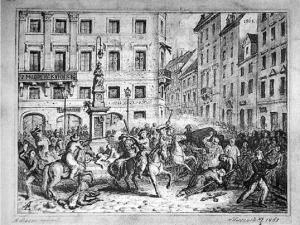 Strzały padły, gdy część manifestacji starła się z carskimi żołnierzami przed figurą Matki Boskiej Passawskiej.