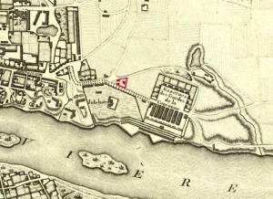 Cmentarz i kościół pod wezwaniem Zdjęcia z Krzyża na planie Warszawy z roku 1790. Kościół i cmentarz zaznaczony na czerwono.