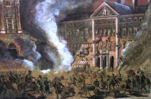 Demolowanie Domu Interesów hrabiego Zamoyskiego po zamachu na namiestnika Berga.