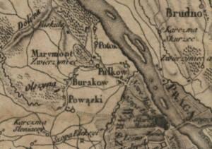 Fragment planu Warszawy z 1794. Na Pulkowie (Polkowie) znajdowało się w przeszłości miejsce straceń przestępców.