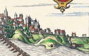 Powiększony prawy fragment panoramy Brauna. Na skraju po prawej stronie widoczna kaplica i szubienica.