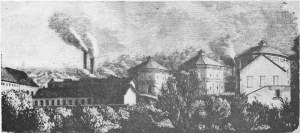 Rycina przedstawiająca gazownię od strony Wisły, opublikowana w Tygodniku Ilustrowanym w roku 1771. Do dzisiaj zachowały się fundamenty widocznych na rycinie zbiorników.