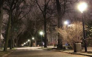 Jedna z ulic Sadyby oświetlona latarniami gazowymi.