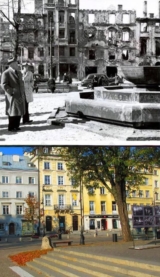 Herbert Hoover ogląda pozostałości pomnika w roku 1946. To samo miejsce współcześnie.
