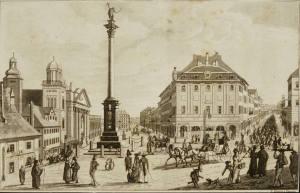 Widok w kierunku Krakowskiego Przedmieścia. Koniec lat dwudziestych XIX wieku.