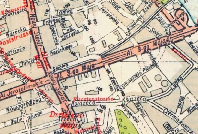 Plan Warszawy, wydany w roku 1941.Widoczny fragment pomiędzy Smolną a Aleją 3-go Maja