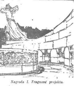 Szkic pomnika mauzoleum w Parku Ujazdowskim.