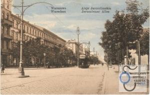 Tramwaj w Alejach Jerozolimskich przed rokiem 1915.