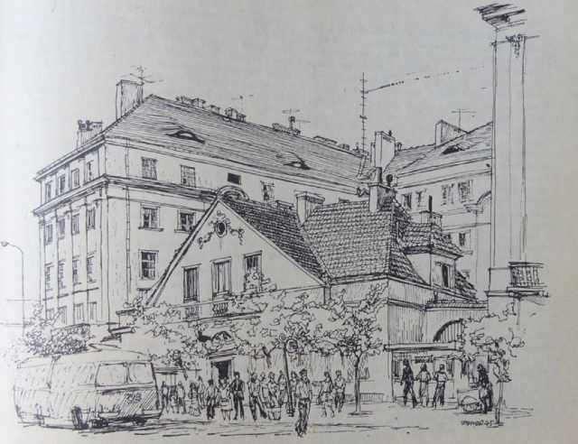 Apteka Kolejowa przy Targowej 70. grafika M.Stępień (1975).