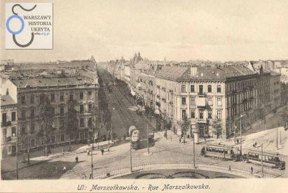 Wylot ulicy Marszałkowskiej na Plac Zbawiciela.