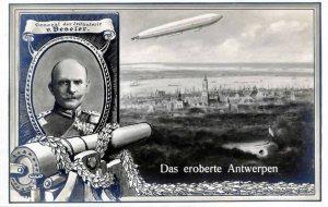 Hans Hartwig von Beseler na niemieciej pocztówce wydanej z okazji zdobycia Antwerpii.