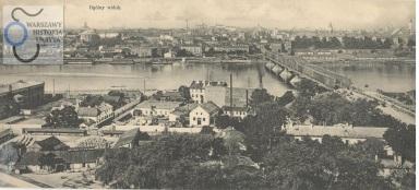 5 sierpnia 1915 około godz. 6 rano dwa środkowe przęsła mostu zostały wysadzone przez wycofujące się z Warszawy wojska rosyjskie. Na pocztówce most już odbudowany. Widać dwie wyróżniające się kratownice o parabolicznym kształcie.
