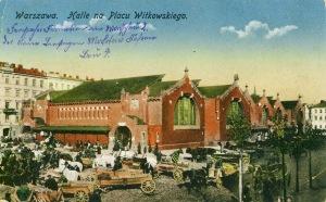 Hale na placu Witkowskiego. Skan pocztówki z początku XX ze strony www.warsawonpostcards.blogspot.com
