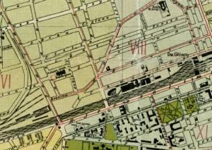 Plac Kazimierza Wielkiego na planie z Warszawy z roku 1934. Środek placu zajmują hale.