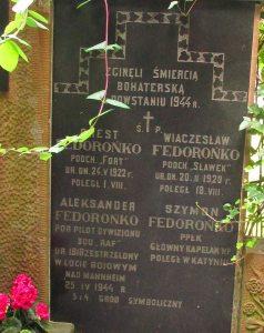 Grób rodziny Fedorońko na Cmentarzu Prawosławnym.