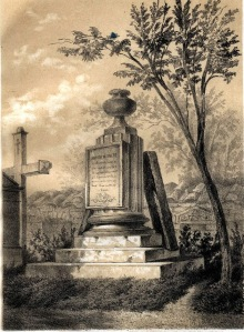Grafika, przedstawiająca grób muzyka, opublikowana w przewodniku po Powązkach z roku 1855.