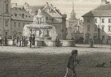 Fontanna na placu Teatralnym według projektu Augusta Kissa. Były to cztery Syreny trzymające w rękach uniesionych do góry paterę z trzema postaciami chłopięcymi dzierżącymi na głowach mniejszą paterę. Z tej mniejszej tryskała woda. Tę fontannę rozebrano w roku 1898. Źródło CBN Polona