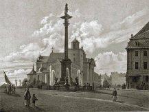 Plac Zamkowy pomiędzy rokiem 1855 a 1865. Źródło CBN Polona