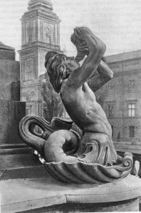 """Tryton w pełnej okazałości. Zdjęcie z książki """"Rzeźbiarze warszawscy XIX wieku""""."""