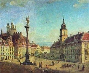 Zamek Królewski - Jan Seydlitz 1851. Przy kolumnie Zygmunta III Wazy nie ma jeszcze wodotrysków, a dostęp do niej ograniczają łańcuchy zawieszone na słupkach.